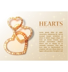 Romance background with shiny hearts and text for vector image