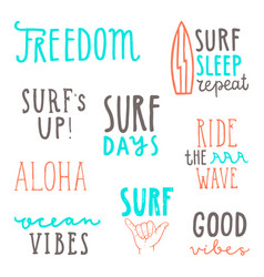 surfing quotes lettering vector image
