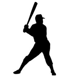 baseball player silhouette vector image vector image