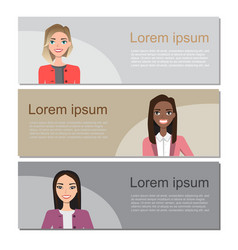 set of business banners with characters vector image vector image