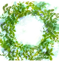 Spring background wreath with green leaves vector image vector image