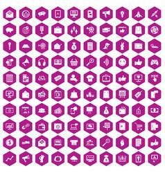 100 digital marketing icons hexagon violet vector image