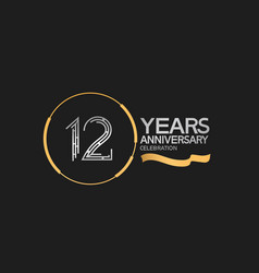 12 years anniversary logotype style with silver vector