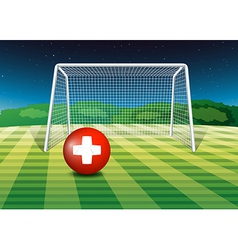 A football field with the flag of Switzerland vector image