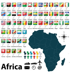 Africa map with regions vector image