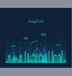 Agra skyline india trendy linear style vector