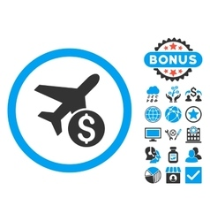 Airplane Price Flat Icon with Bonus vector image