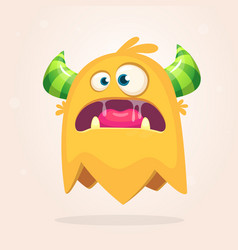Angry orange cartoon monster with horns vector