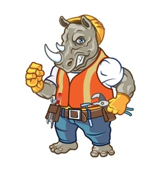 Angry Rhino Construction Worker Mascot vector