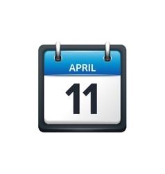 April 11 Calendar icon flat vector