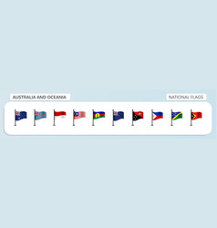 australia and oceania national flags vector image