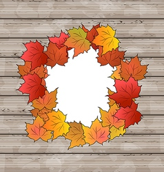 Autumn leaves maple with copy space wooden texture vector