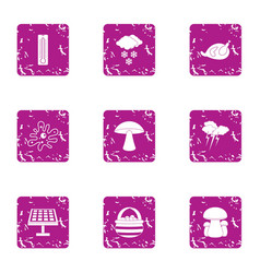 autumnal forest icons set grunge style vector image