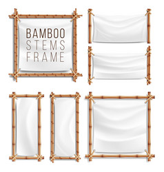 bamboo frame set with canvas wooden frame vector image