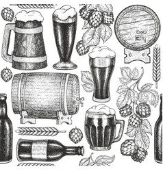 beer glass mug and hop seamless pattern hand vector image