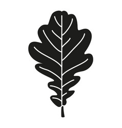 black and white oak leaf silhouette vector image