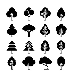 black tree icons set vector image