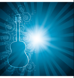 Blue background with music notes and guitar vector
