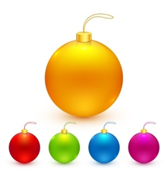 Bright colors isolated Christmas balls set vector image