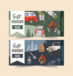 Camping voucher design with van food backpack vector