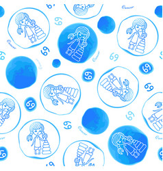 cancer zodiac sign seamless pattern vector image