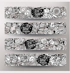 cartoon cute hand drawn doodles pizzeria vector image