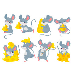cartoon mouse with cheese cute little mouses vector image