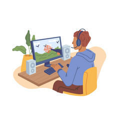 child teen playing online video games on computer vector image