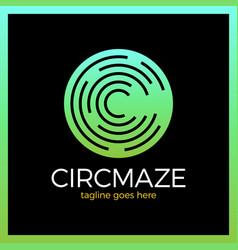 Circle maze logo - letter c vector
