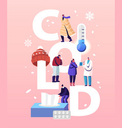 cold health care concept characters patients vector image