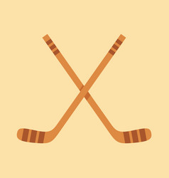 Crossed hockey sticks in flat design style vector