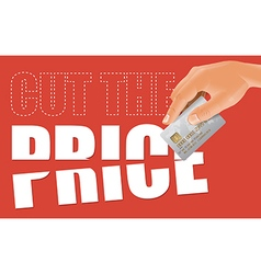 Cut the price with credit card vector image