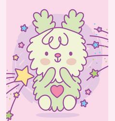 cute adorable bunny furry stars cartoon vector image