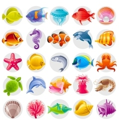 Cute cartoon icon set with underwater animals Sea vector