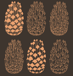 dark hand drawn seamless cone pattern vector image