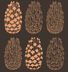 dark hand drawn seamless cone pattern vector image