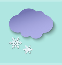 dark paper cut cloud and snow 3d art style vector image