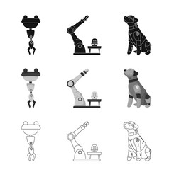 Design of robot and factory sign set of vector