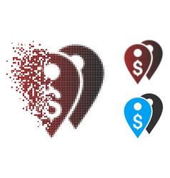 Dispersed pixel halftone dollar bank marks icon vector