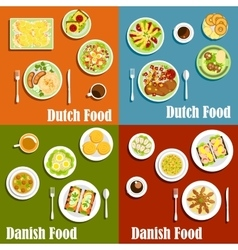 Dutch and danish traditional cuisine vector image