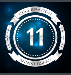 eleven years anniversary celebration with silver vector image