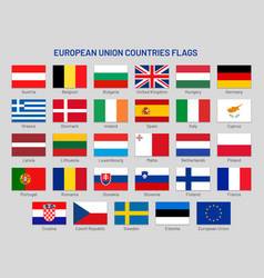 European union countries flags europe travel vector