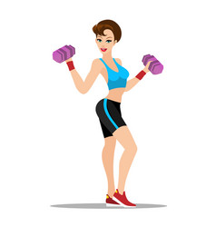fitness girl workout with dumbbell vector image