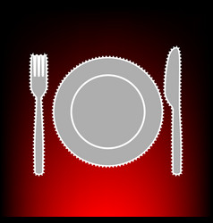 fk knife and plate vector image