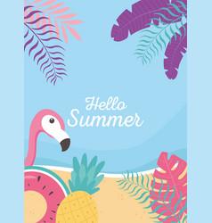flamingo float pineapple beach exotic tropical vector image