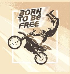 Flat dynamic extreme sport moto free style rider vector