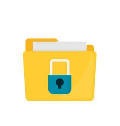 Flat folder lock icon on white background file vector