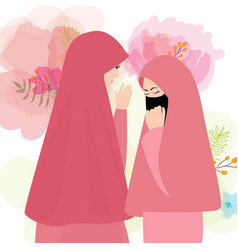 Friends wear veil scarf islam cover face two woman vector