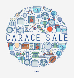 Garage sale or flea market concept in circle vector