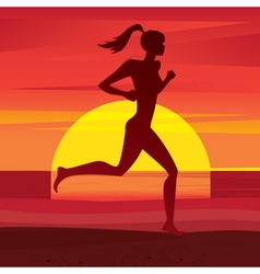 Girl trains at sunset vector